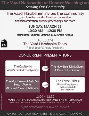 Vaad Harabanim Event – Sunday March 13th